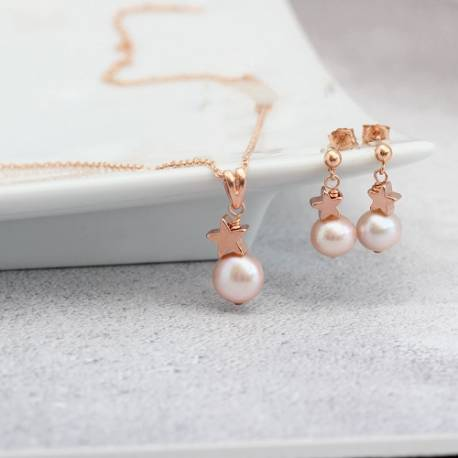 pink pearl pendant with rose gold star and matching pearl drop earrings, delicate jewellery gifts for her