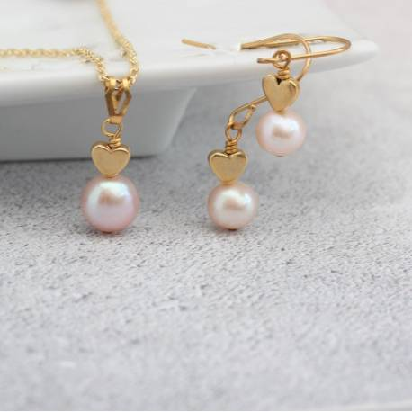 pink pearl pendant with gold heart and matching pearl drop earrings, jewellery gift set for girlfriend