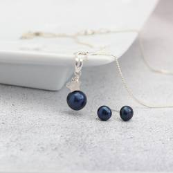 Blue Peacock and Silver Star Pendant with Pearl Stud Earrings