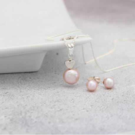 pink pearl pendant with sterling silver heart and pearl stud earrings, delicate jewellery gift set for bridesmaids