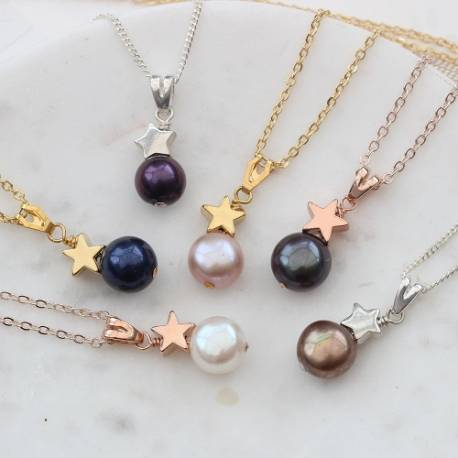 single pearl pendant necklace with silver, gold or rose gold star, delicate jewellery gifts for Christmas