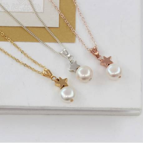 white pearl wedding pendant necklaces with silver, rose gold or gold star, delicate pearl jewellery for a bride