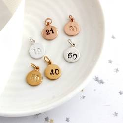 number disc charm in silver, rose gold or gold, personalised birthday charms to add to necklace or bracelet