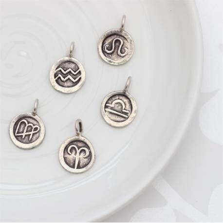 zodiac disc charms in silver, every star sign for a birthday, add to necklace, locket or necklace