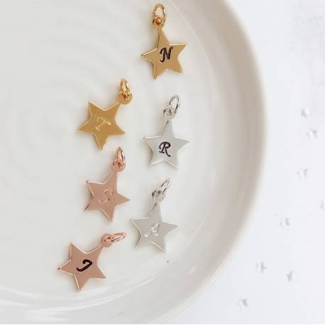 initial letter large star charm in silver, rose gold or gold, personalised in every letter of the alphabet