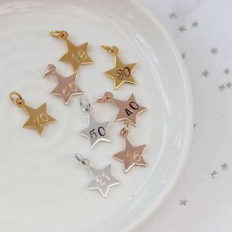 larger star number charms in sterling silver, rose gold and gold for milestone birthday and anniversary gifts
