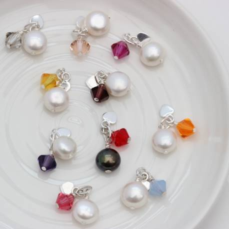 swarovski crystal and pearl cluster charm, to add to her necklace or bracelet in her favourite colour
