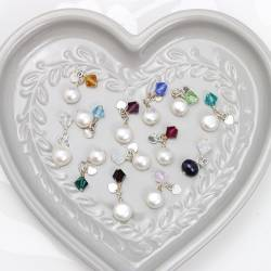 swarovski crystal birthstone with pearl charms, for personalised jewellery gifts
