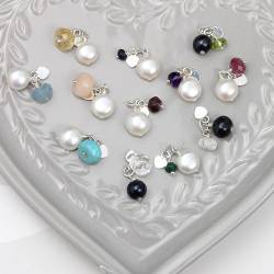 gemstone birthstone cluster charm with pearls for every month of the year, personalised jewellery gifts for her