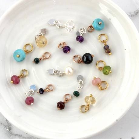 birthstone gemstone charms on sterling silver, rose gold or gold to create bespoke birthday gifts