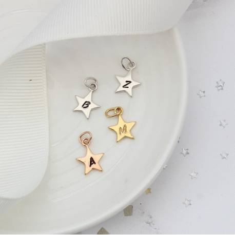 initial letter small star charm in silver, rose gold or gold, personalised in every letter of the alphabet