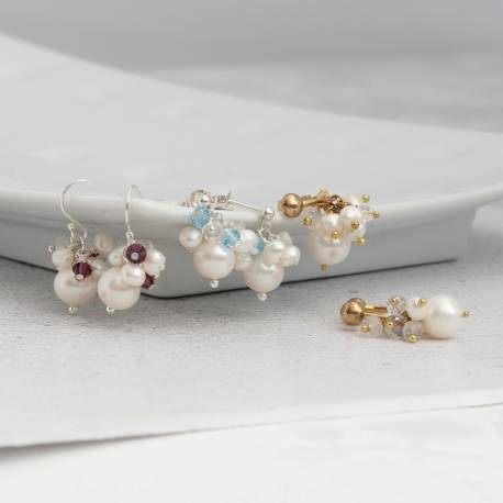 adrianna white pearl drop earrings with swarovski crystal on silver, gold or rose gold studs, fish hooks or clip on