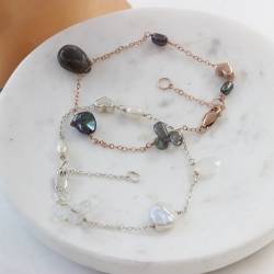 handmade delicate chain bracelets with gemstone and pearls on silver, rose gold or gold, perfect jewellery gift ideas