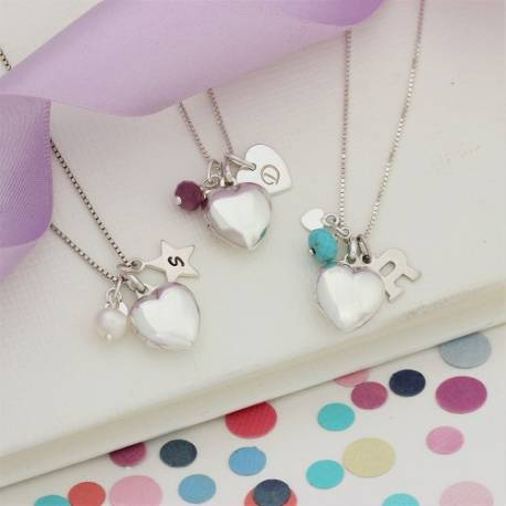 small silver heart locket personalised with her initial and birthstones for June, July, December