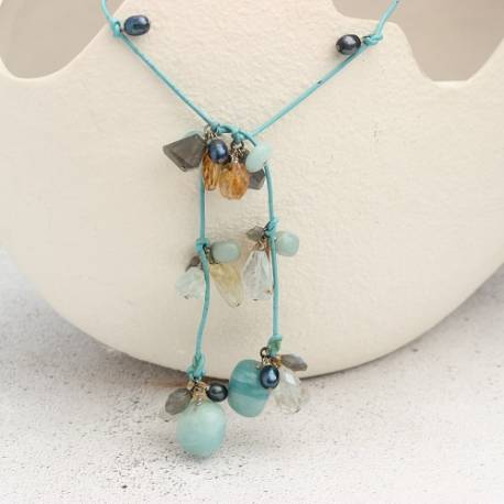 turquoise amazonite and gold citrine leather lariat, unusual handmade gemstone jewellery gifts