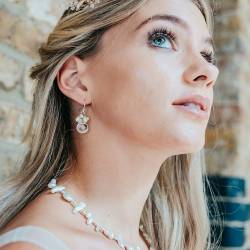 crystal teardrop and pearl wedding earrings, on silver fish hooks, studs or clipon for a bride with non pierced ears