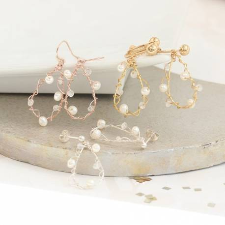 Wired wrapped rose gold, gold or silver drop wedding earrings with pearl and moonstone, delicate jewellery for a bride