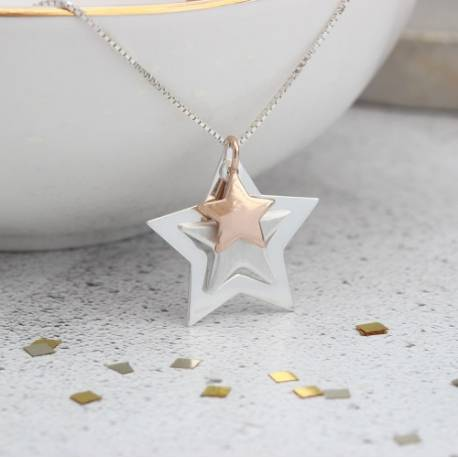 twinkle triple star necklace in sterling silver and rose or yellow gold, perfect jewellery gift for christmas