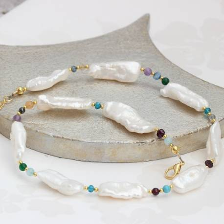 white biwa pearl and gemstone necklace, a modern pearl jewellery gift for her