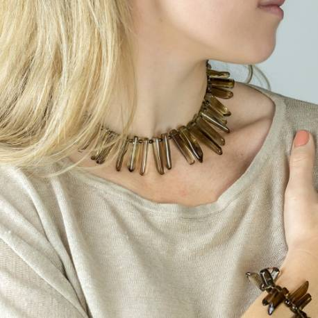octavia quartz point choker necklace, dramatic statement handmade jewellery for her