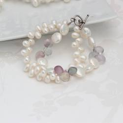 topdrilled white pearl and gemstone teardrop bracelet, a modern pearl jewellery gift for her, handmade in hampshire