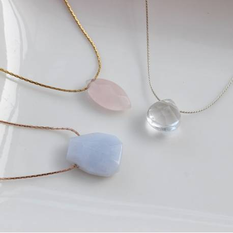 keimau teardrop necklace on fine rose gold, gold or silver chain, a delicate jewellery gift for her