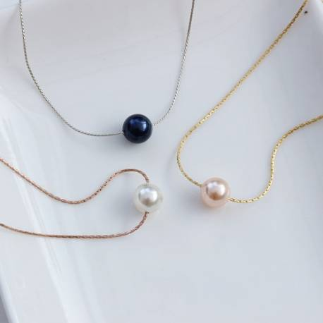keimau swarovski pearl necklace on fine rose gold, gold or silver chain, a modern pearl jewellery gift she will treasure