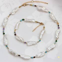 white biwa pearl and gemstone necklace and bracelet, a modern pearl jewellery gift set for her
