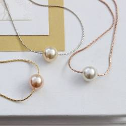 keimau swarovski pearl on fine rose gold, gold or silver chain, a modern pearl wedding necklace for bride and bridesmaids
