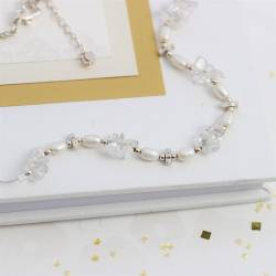 keimau handmade pearl and crystal gemstone on a fine silver chain, delicate jewellery gifts for her