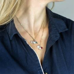 birthstone crystal necklaces with heart charm in sterling silver, rose gold or gold