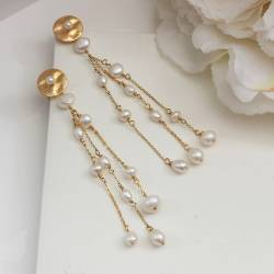 extra long gold disc stud earrings with pearl and chain dangle, dramatic modern pearl jewellery