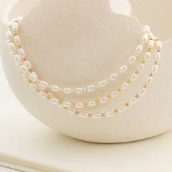 white pearl choker necklace with silver rose gold or gold beads, layer with your favourite necklaces