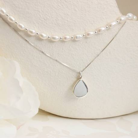 white pearl choker with silver teardrop locket necklace, handmade layering necklaces from Bish Bosh Becca