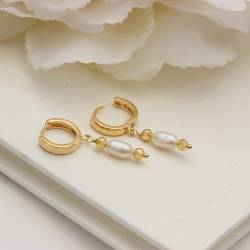 gold hoop huggie wedding earrings with pearl drop,bridal jewellery for a bride on her wedding day