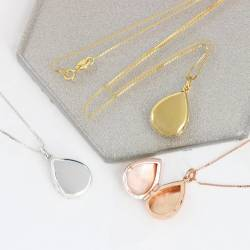 teardrop wedding locket in sterling silver, rose gold and gold. modern bridal locket for a bride