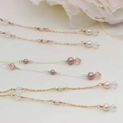 imogen ivory swarovski pearl and crystal lariat back drop wedding necklace on gold, delicate handmade jewellery for a bride