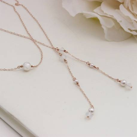 imogen white swarovski pearl and crystal lariat back drop wedding necklace on rose gold, delicate bridal jewellery
