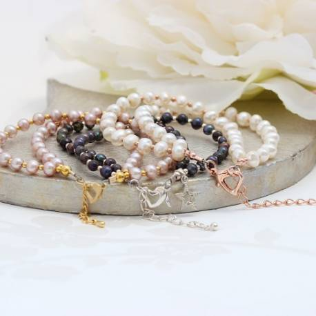 double stranded pearl bracelets in silver, rose gold or gold, dainty pearl jewellery gifts for her