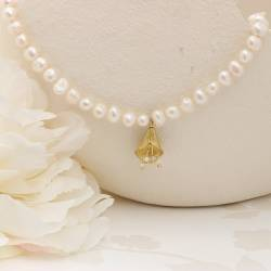 white pearl and golden calla lily flower wedding choker necklace, an unusual pearl jewellery for a bride