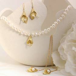 white pearl and golden calla lily wedding choker necklace with back drop and earrings, pearl jewellery set for a bride