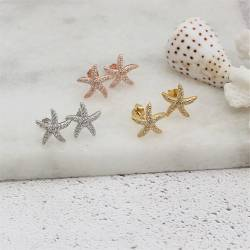 dainty starfish stud earrings in silver, rose gold or gold vermeil with sparkly Cubic Zirconia