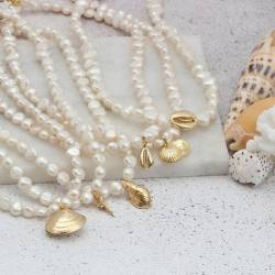 gold plated seashell charms on white pearl choker necklace