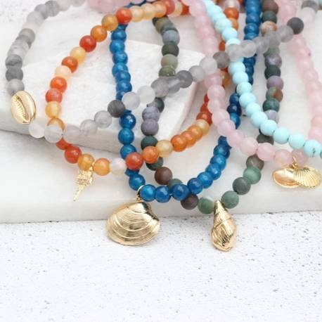 gemstone and gold plated seashell charm choker necklaces