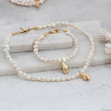 gold plated conch seashell charm pearl choker necklace and bracelet set