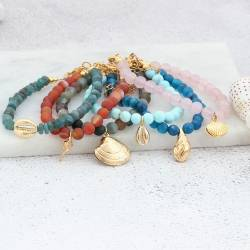 gold plated seashell and round gemstone bracelets