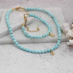 gold plated seashell charm and turquoise gemstone necklace and bracelet set