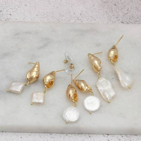 gold plated conch shell stud earrings with pearl drop