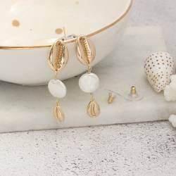gold plated cowrie shell and pearl dangle earrings