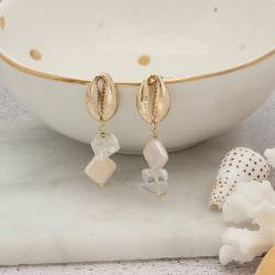 mismatch cowrie shell drop earrings